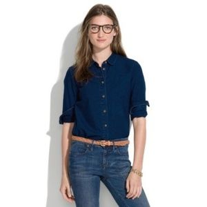 Madewell Indigo Denim Collared Shirt, Size XS